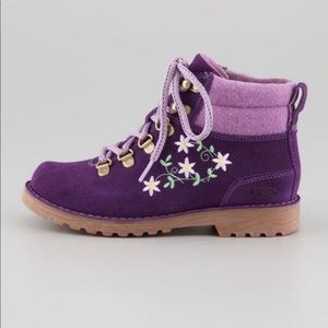 UGG Boots Barelo Embroidered Suede Floral Purple